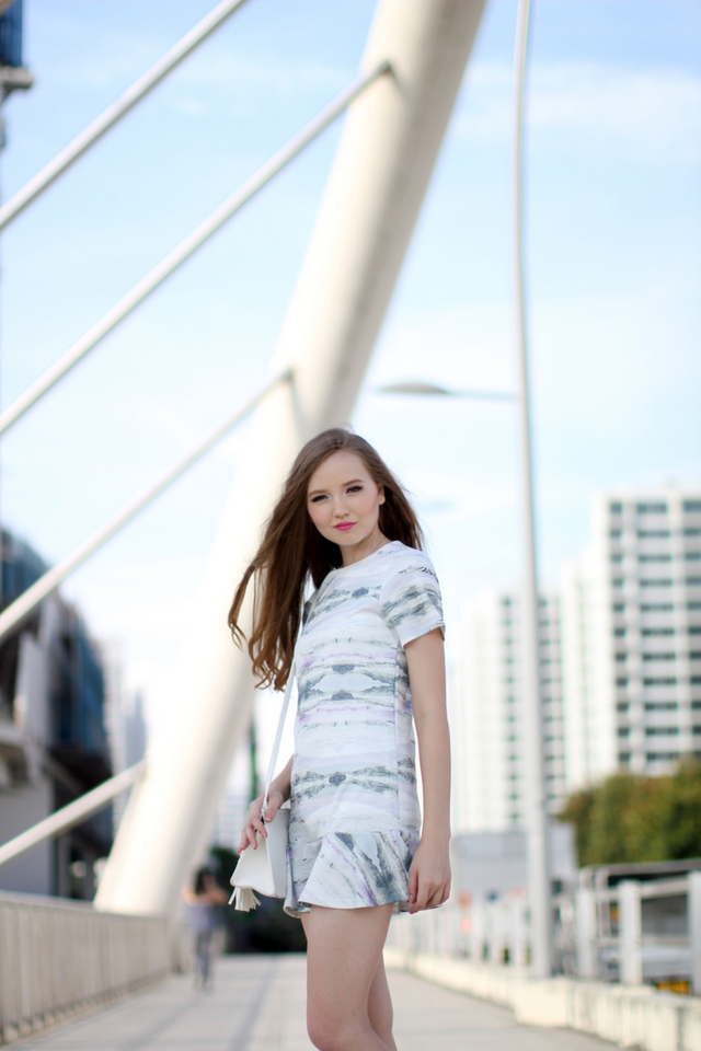 TSW Addison Drop Waist Dress in Greyscale (M)