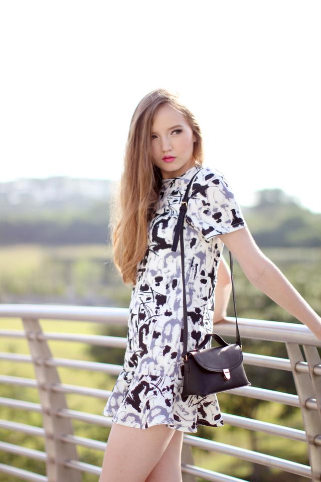 TSW Addison Drop Waist Dress in Inksplat