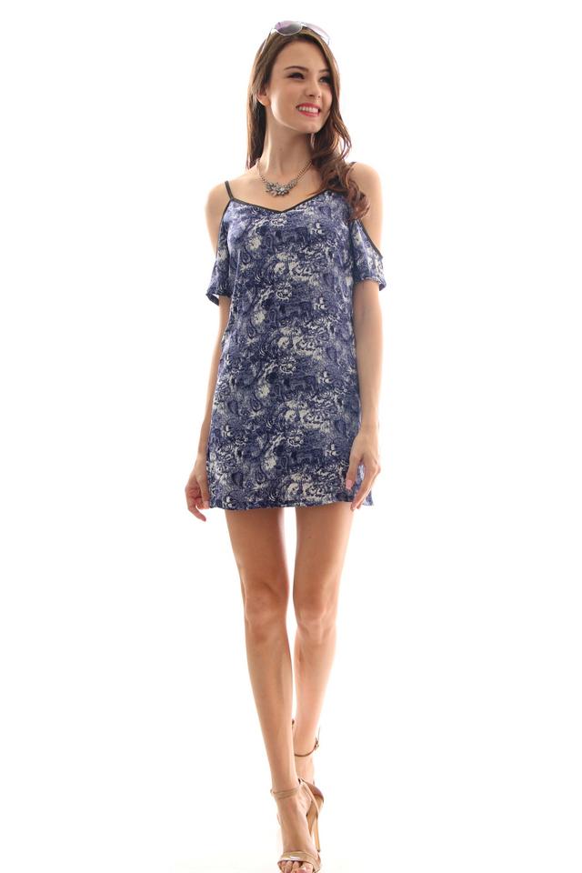 TSW Honora Cultured Cold Shoulder Dress In Ocean Breeze