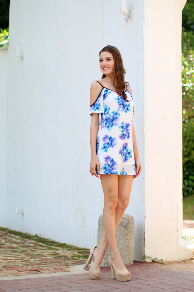 TSW Honora Cultured Cold Shoulder Dress In Blue Floral