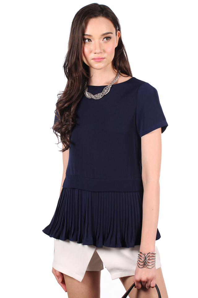 TSW Darice Pleated Down Top in Navy (L)