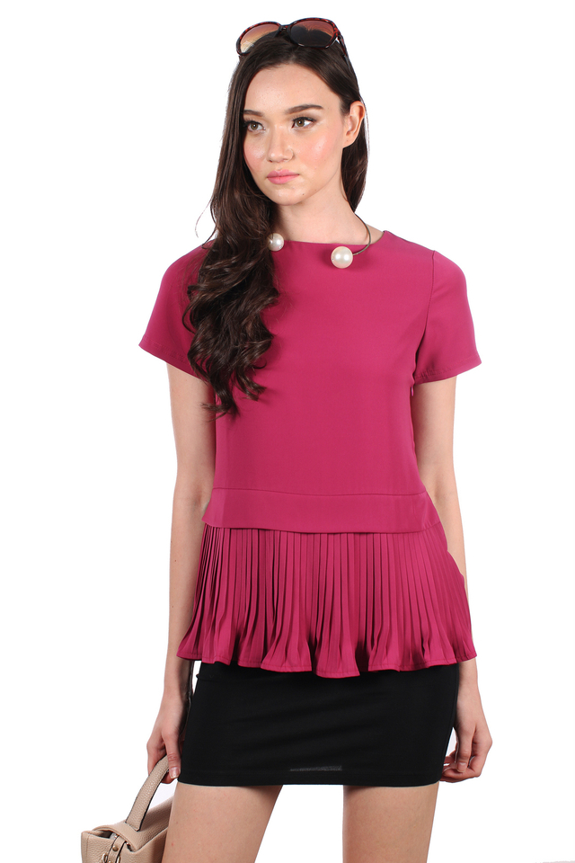 TSW Darice Pleated Down Top in Magenta