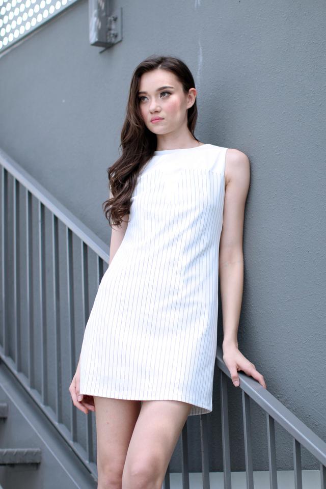 TSW Selena Contrast Neckline Pinstripes Dress in White