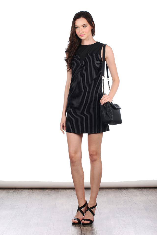 TSW Selena Contrast Neckline Pinstripes Dress in Black (XS)