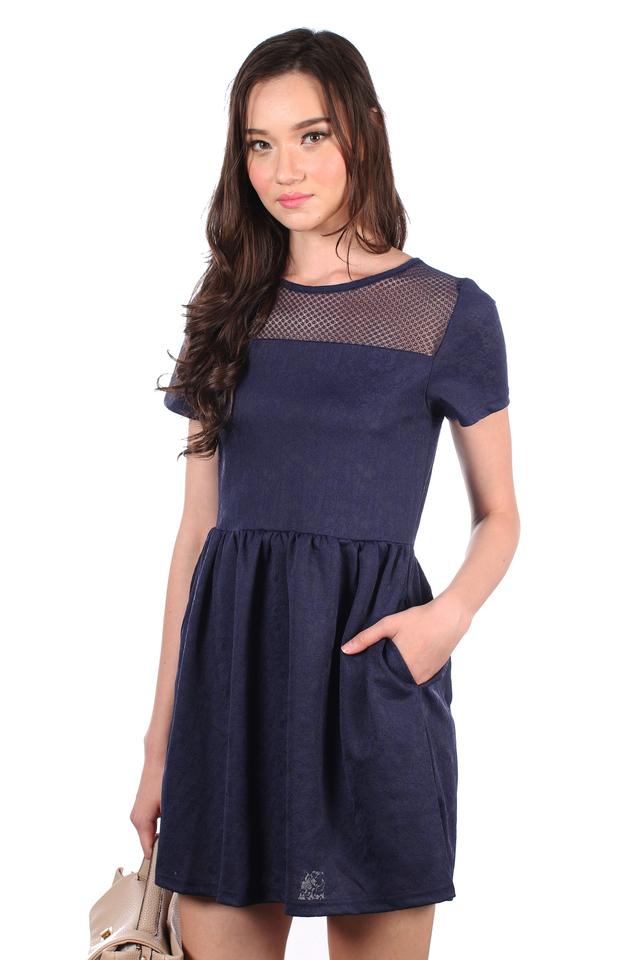 TSW Crystal Mesh Embossed Dress in Navy (XS)