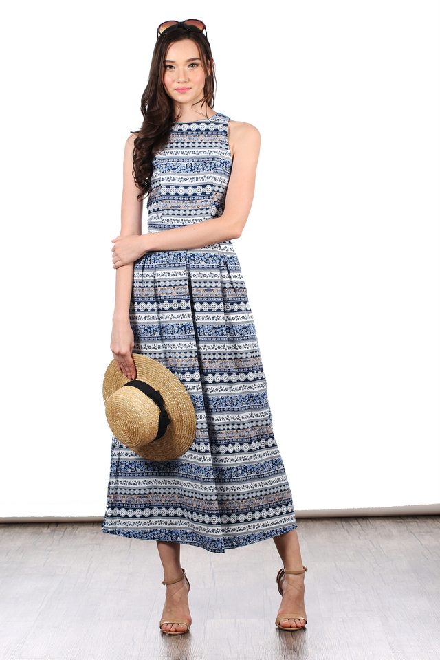 TSW Riley Printed Maxi Dress in Blue Paisley