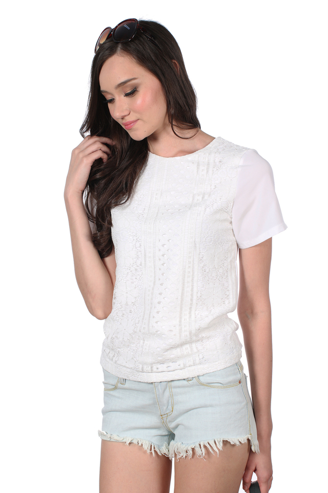 TSW Gypsy Lace Overlay Front Top in White (M)