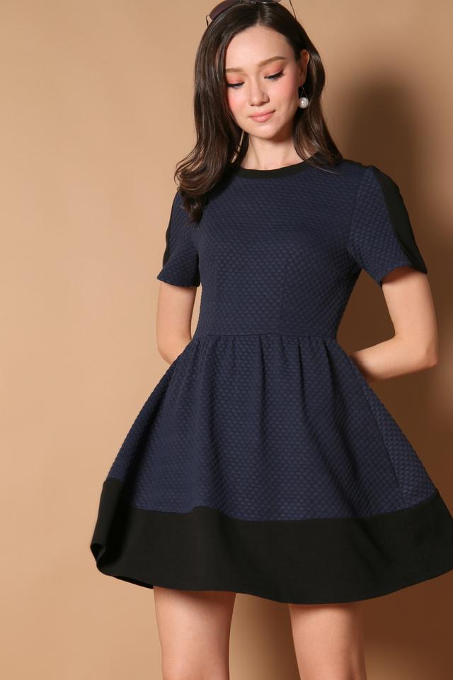 Danielle Textured Sleeve Dress in Navy