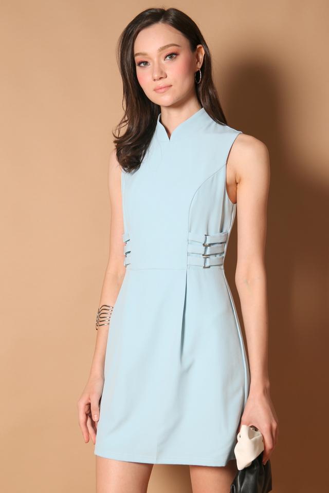 Liane Side Buckle Cheongsam Dress in Baby Blue