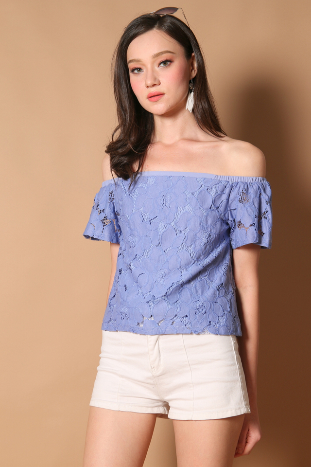 Stella Off Shoulder Lace Top in Periwinkle (XS)