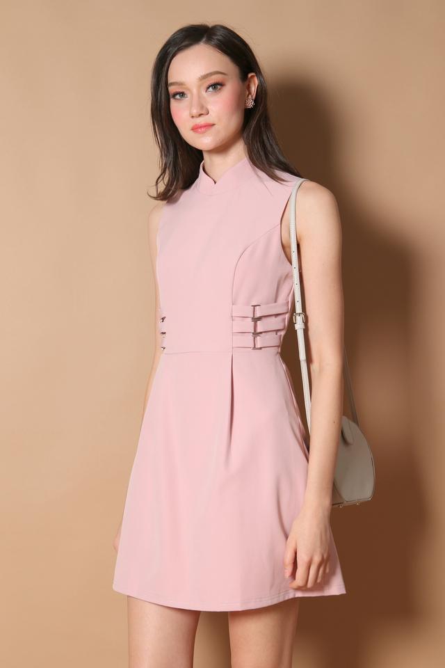 Liane Side Buckle Cheongsam Dress in Dusty Pink (XL)