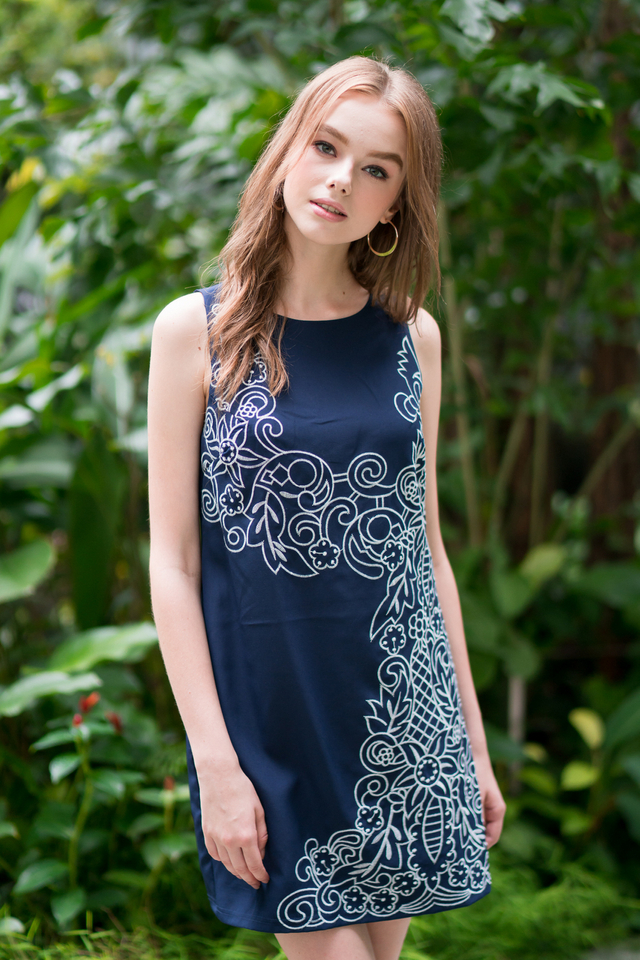 Faith Embroidery Dress in Navy (XS)