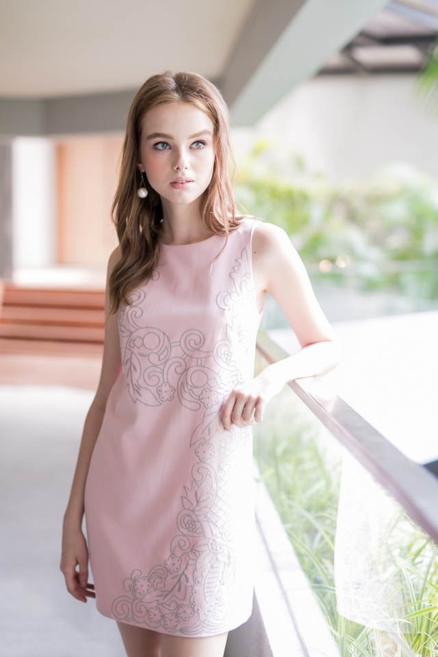 Faith Embroidery Dress in Dusty Pink