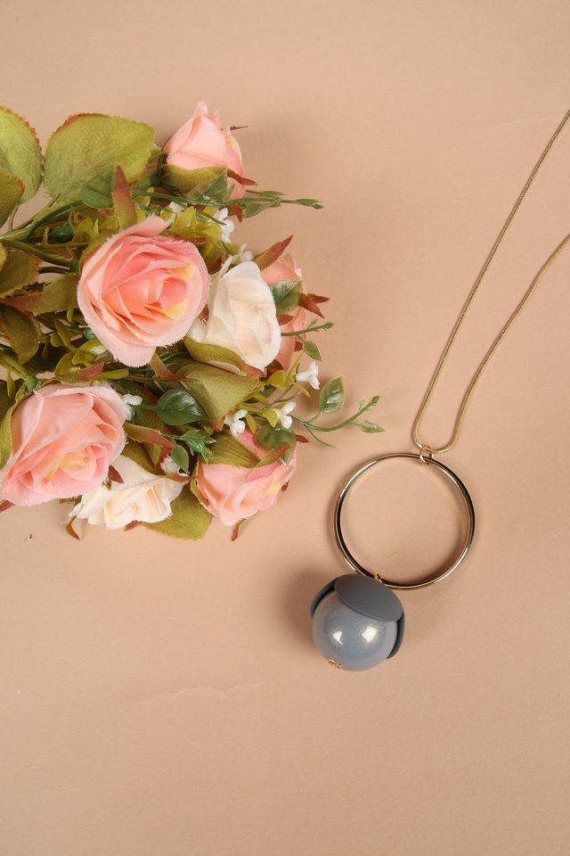 Julius Long Necklace in Grey
