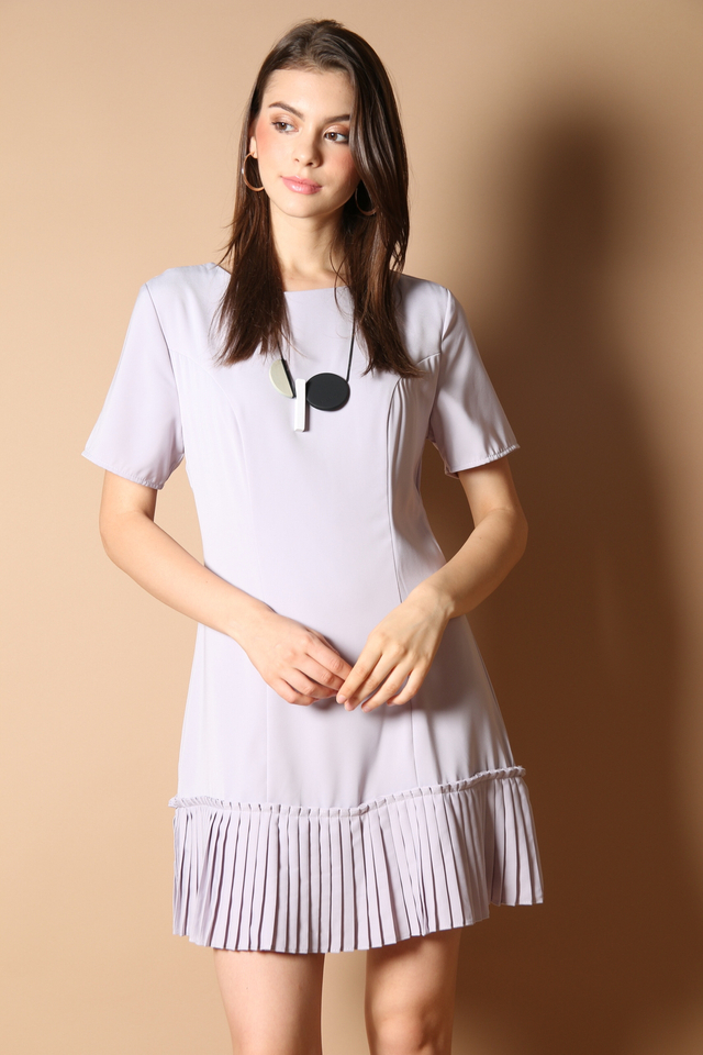 Genevive Pleats Dress in Grey