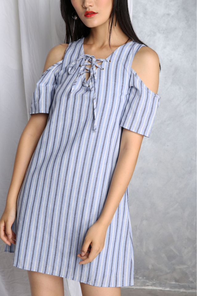 Mia Lace Up Dress in Blue
