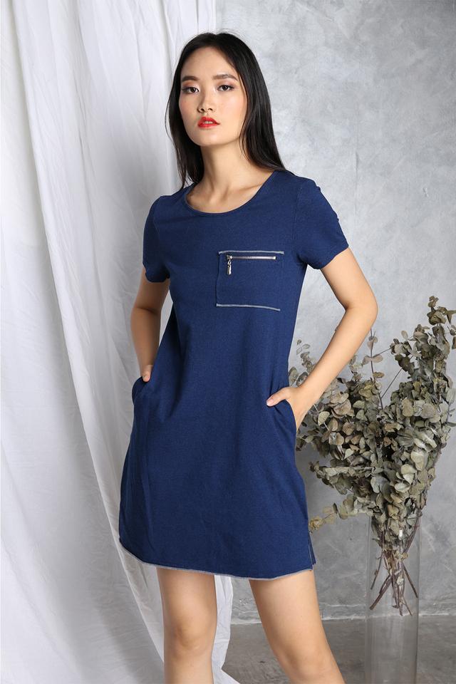 Naya Pocket Dress in Blue Denim