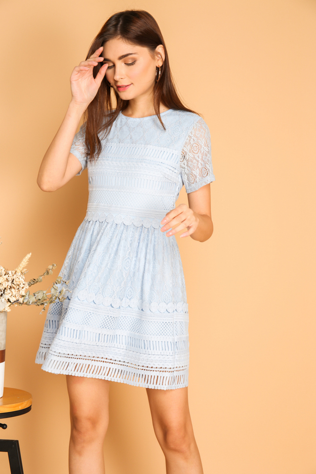*BACKORDER* Lela Textured Lace Dress in Baby Blue