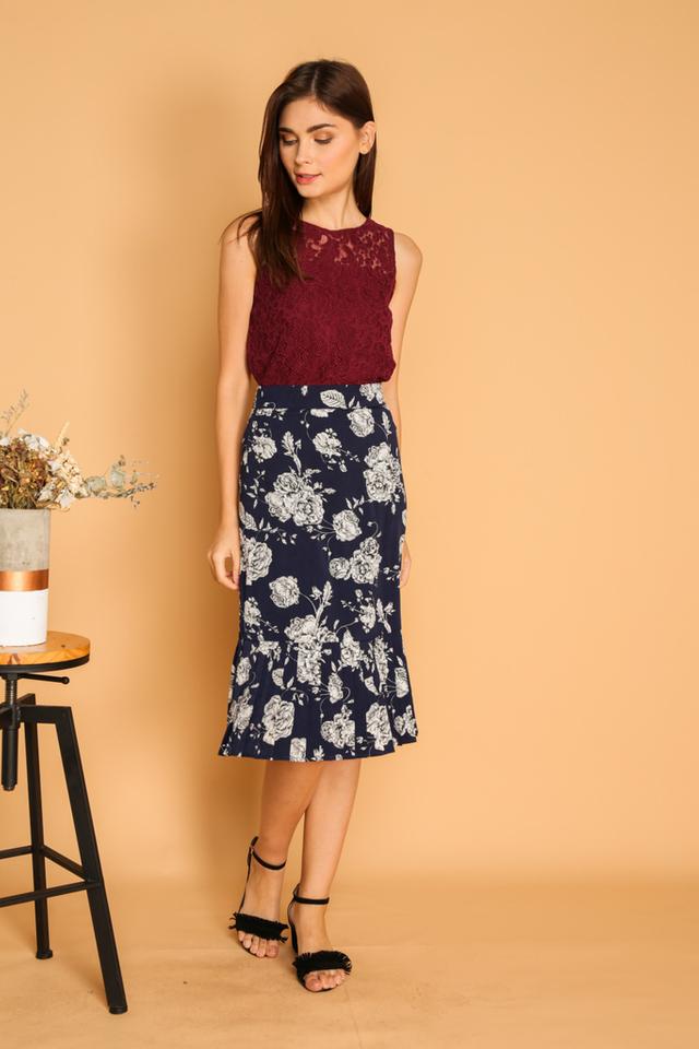 Leola Floral Pleated Midi Skirt in Navy