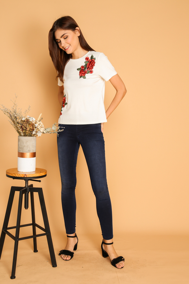 Maura Rose Patch Tee in White