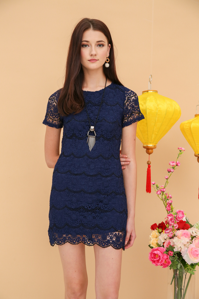 Quincy Crochet Scallop Dress in Navy Blue (S)