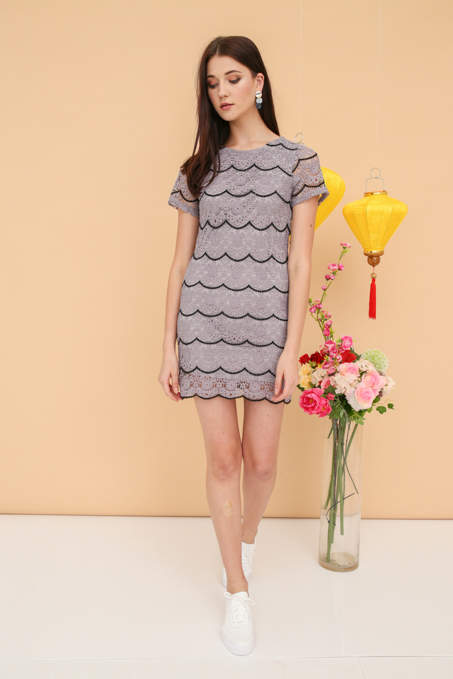 Quincy Crochet Scallop Dress in Grey