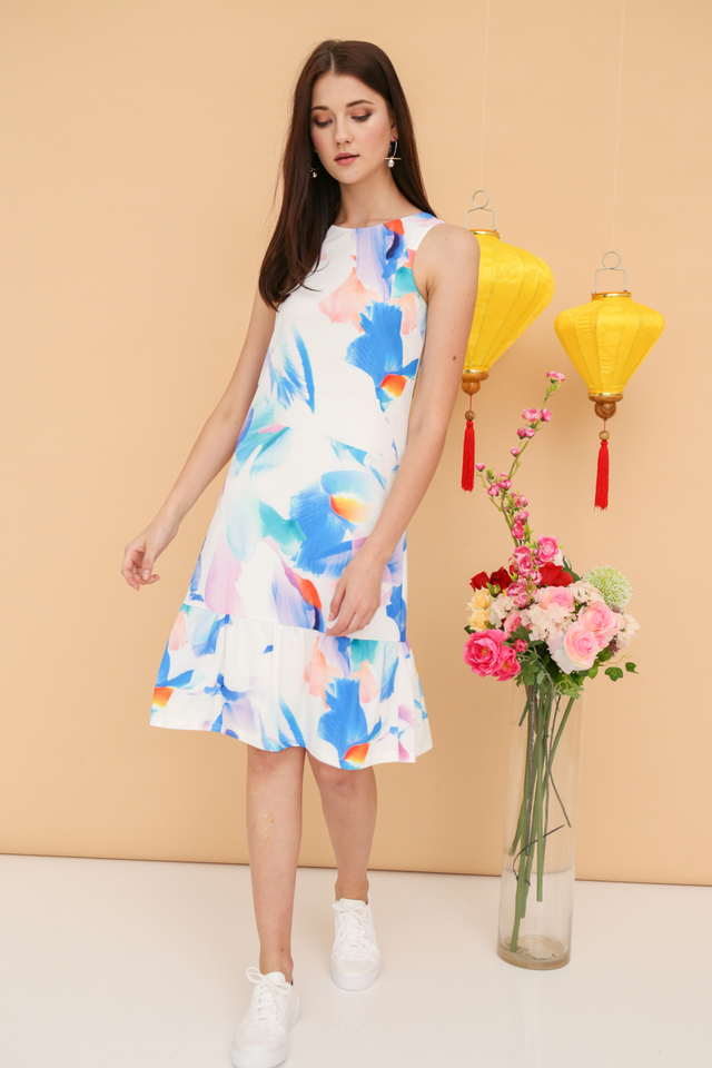 Olivia Watercolour Midi Dress in Blue