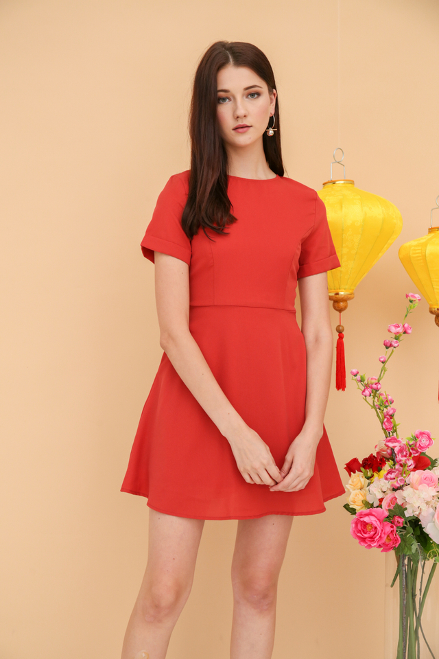 Hethlyn Folded Sleeve Dress in Burnt Orange (XS)