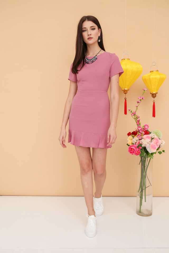 Jeannie Drop Waist Dress in Pink