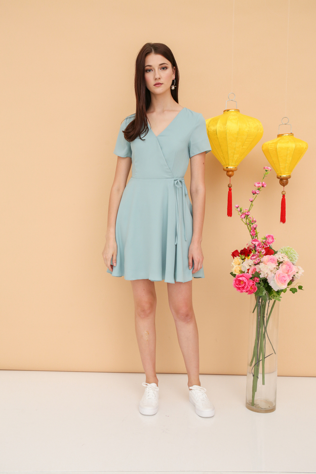 Cheryl Basic Faux Wrap Dress in Jade