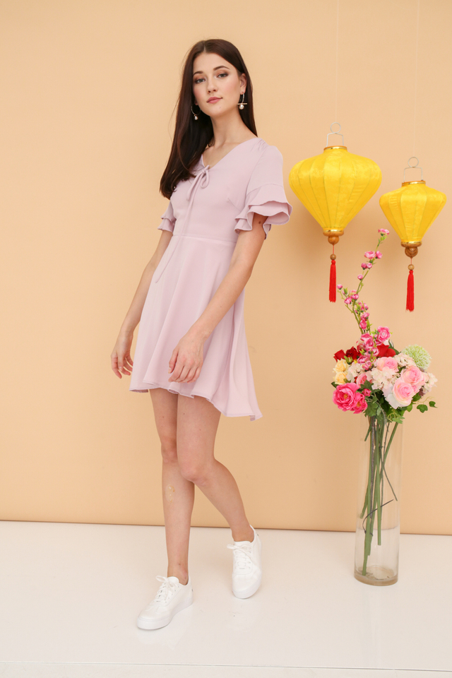 Miko Ribbon Skater Dress in Pink (XS)