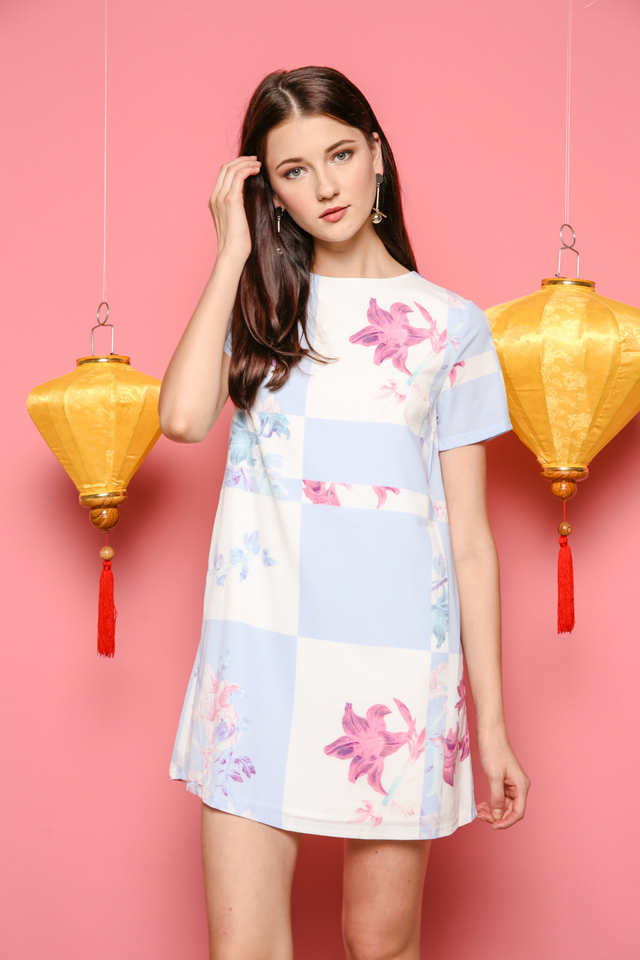 Melissa Pastel Shift Dress in Blue
