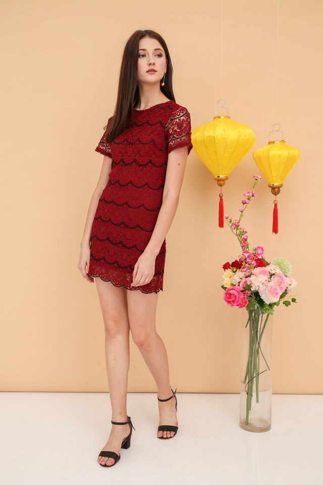 Quincy Crochet Scallop Dress in Wine Red (XS)