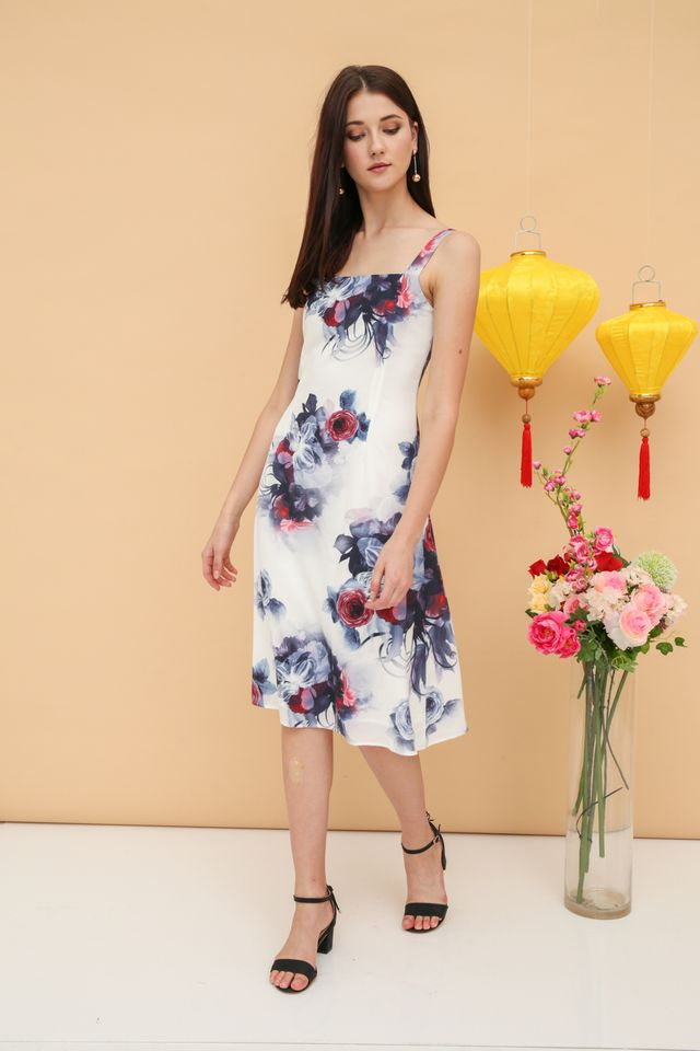 Rebecca Midi Dress in Black Rose (L)