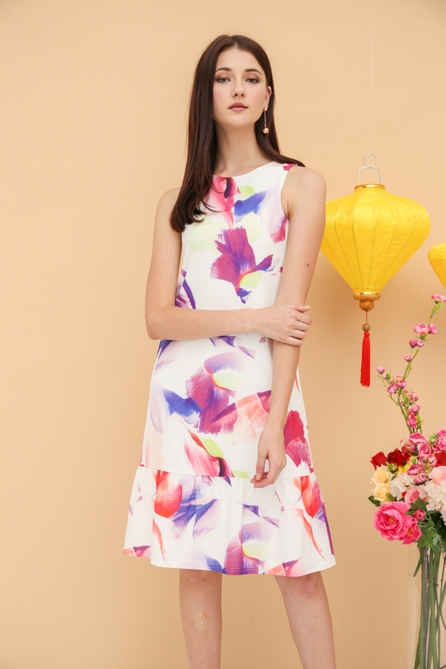 Olivia Watercolour Midi Dress in Pink (L)