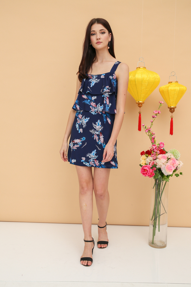 Reina Floral Tiered Dress in Blue