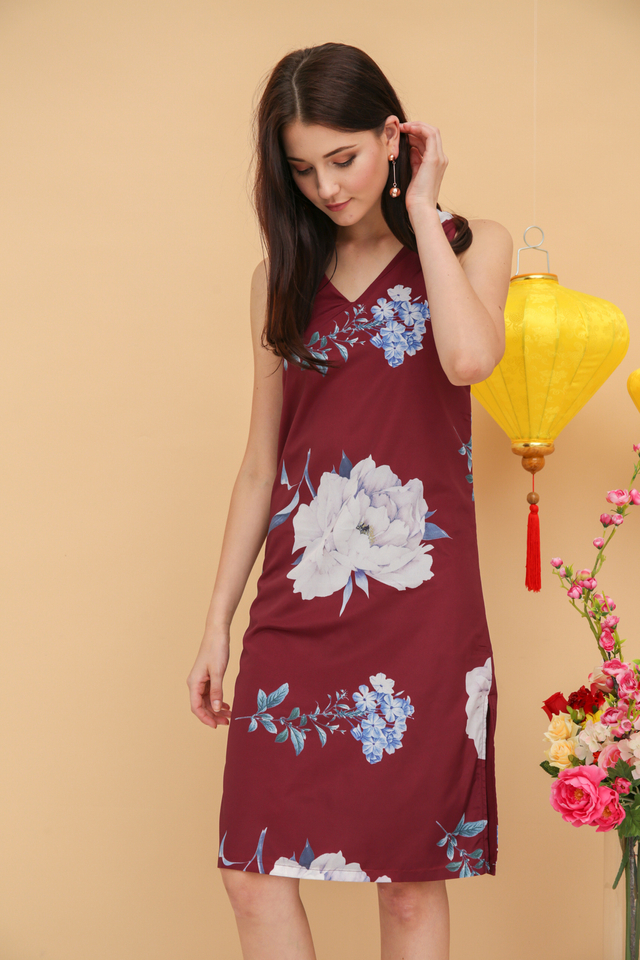 Angelene Rose Midi Dress in Wine Red