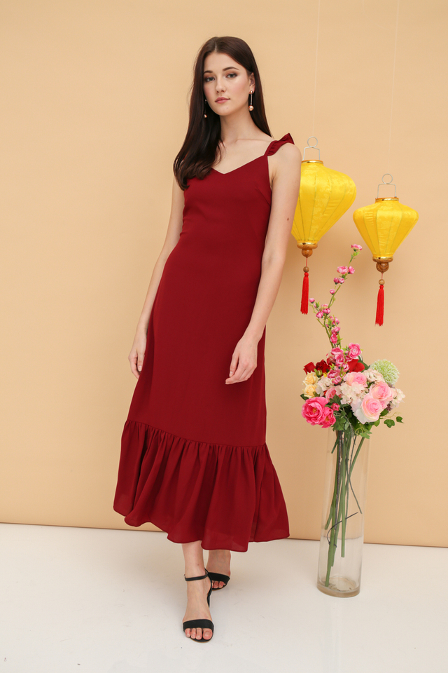 Grace Ruffles Frills Maxi Dress in Wine Red