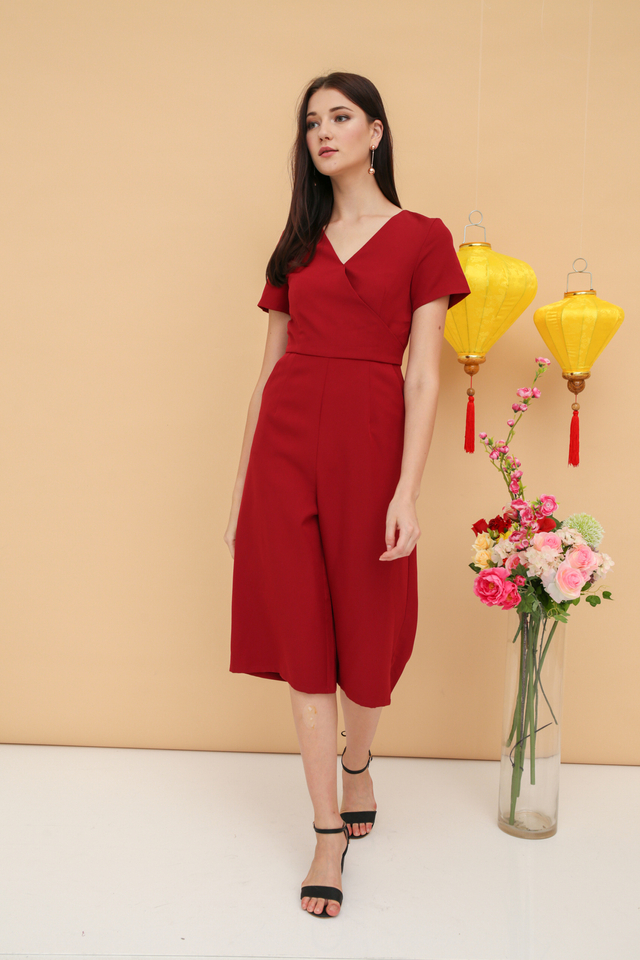 Cass Midi Sleeve Jumpsuit in Red