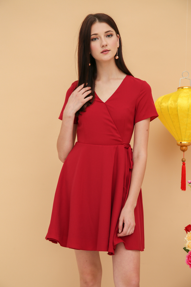 Cheryl Basic Faux Wrap Dress in Wine Red