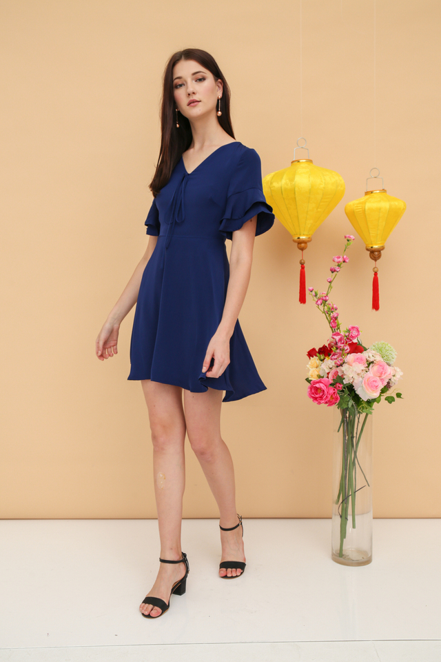 Miko Ribbon Skater Dress in Navy Blue (XS)