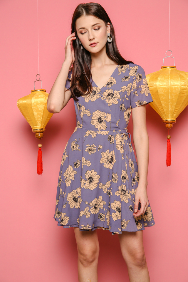 Sheila Floral Dress in Grey (XS)