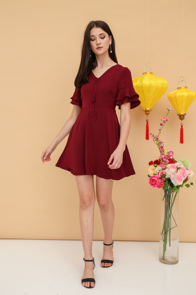 Miko Ribbon Skater Dress in Wine Red