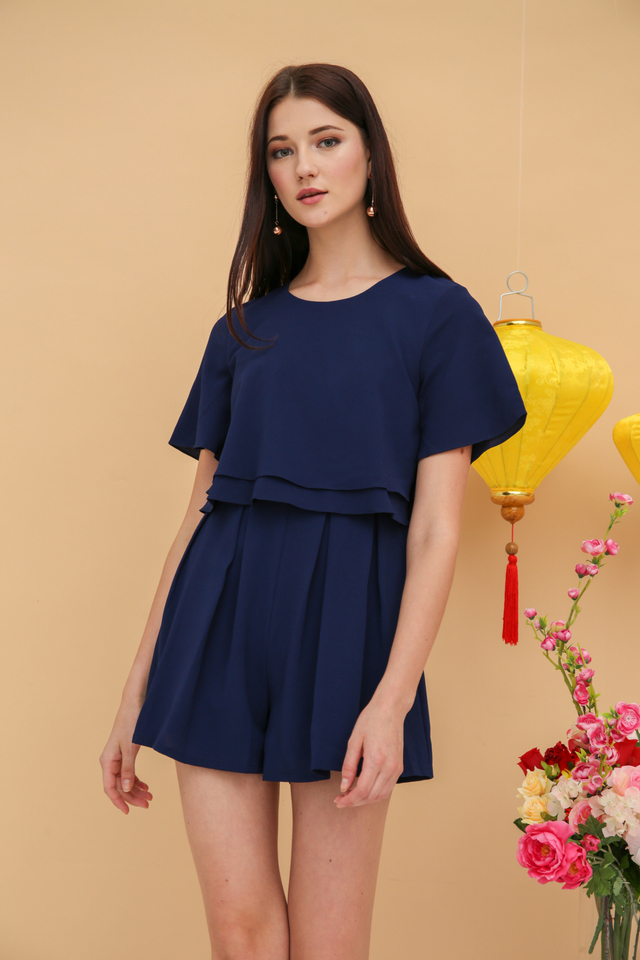 Careen Tiered Layer Romper in Navy Blue