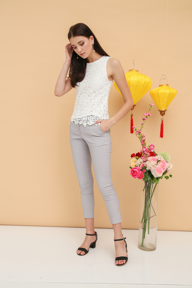 Nerissa Crochet Sleeveless Top in White (XL)