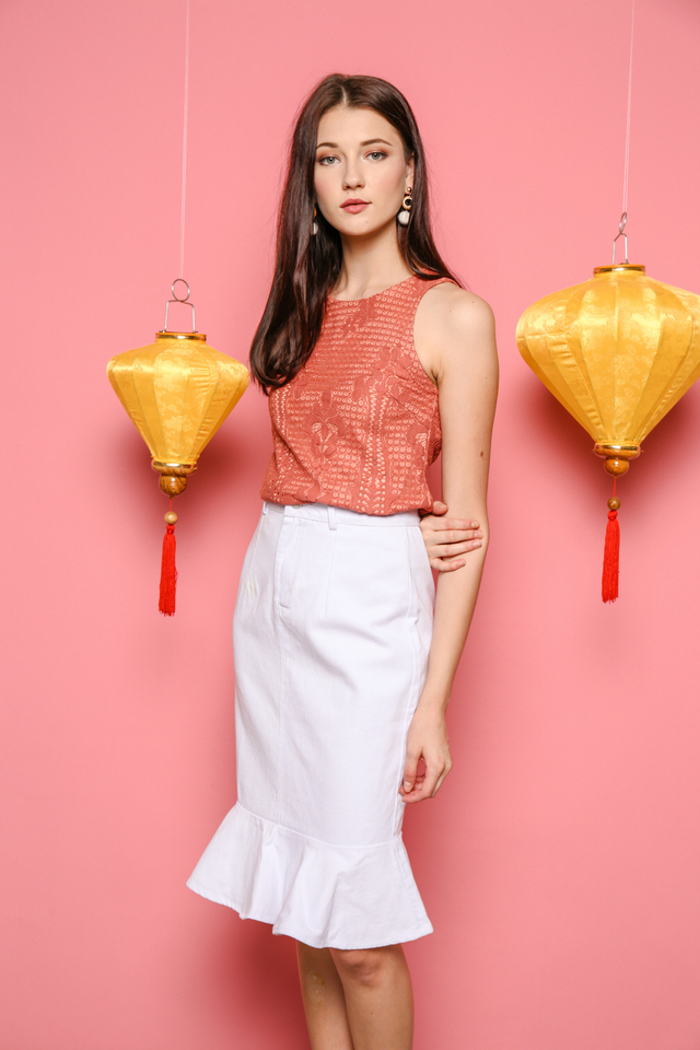 Felisa Denim Peplum Skirt in White