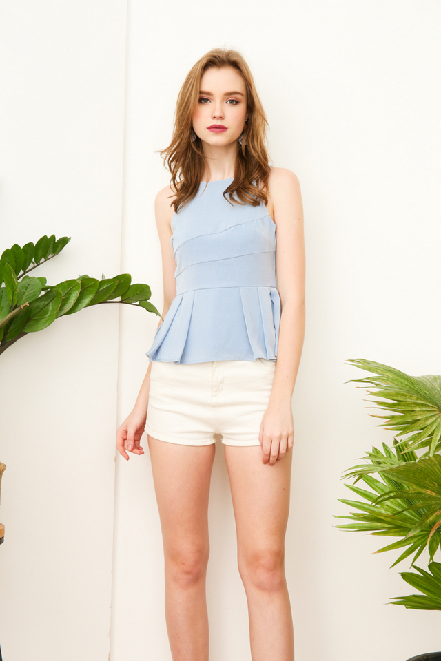 Paris Pleated Peplum Halter Top in Powder Blue