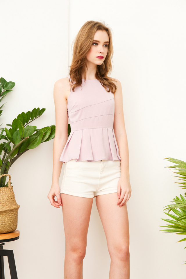 Paris Pleated Peplum Halter Top in Dusty Pink
