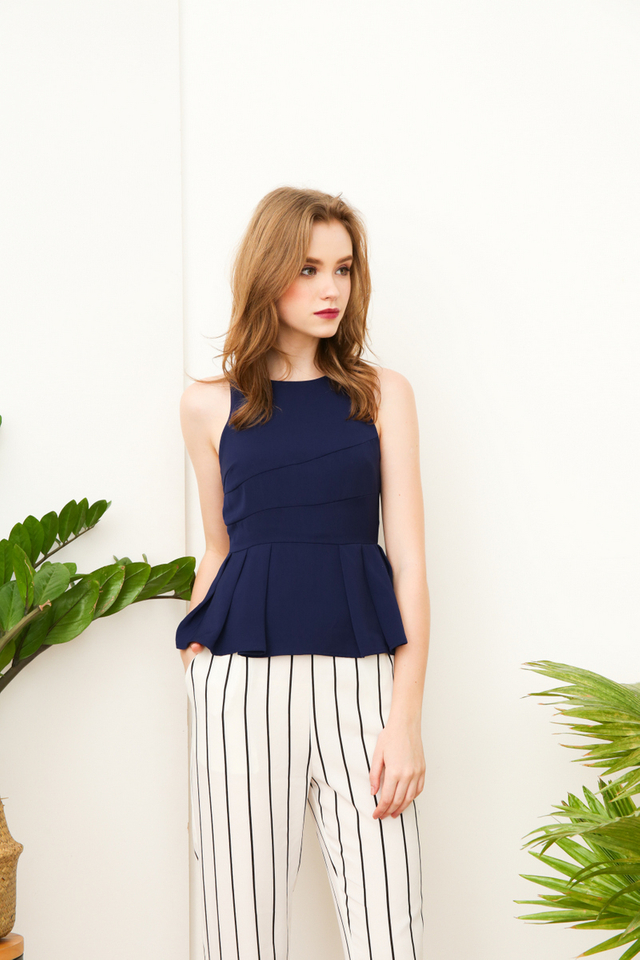 Paris Pleated Peplum Halter Top in Navy