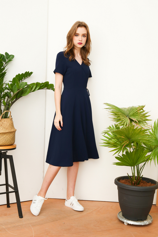 Joslyn Faux Wrap Midi Dress in Prussian Blue